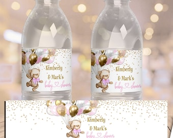 PRINTABLE Teddy Bear Baby Shower Water Bottle Label | Teddy Bear Theme | Pink | We Can Bearly Wait | Bear Baby Shower | BB06