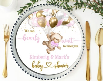 PRINTABLE Teddy Bear Baby Shower Charger Plate Insert| Teddy Bear Theme | Pink | Baby Girl | We Can Bearly Wait | Bear Baby Shower |  BB06