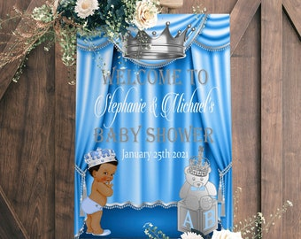 EDITABLE Royal Baby Welcome Poster, Royal Baby Shower Decor, A Prince is On It's Way, Royal Blue and Gold, LB91