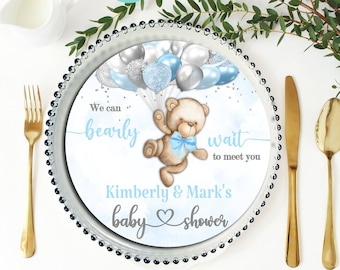 PRINTABLE Teddy Bear Baby Shower Charger Plate Insert| Invitation | Teddy Bear Theme | Light Blue | Can Bearly Wait to Meet You | BB05