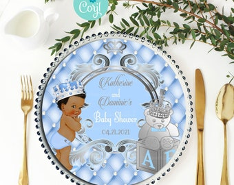 EDITABLE | Light Blue and Silver Royal Charger Insert | A Prince is on the Way | Royal Blue Baby Shower Theme | LB91
