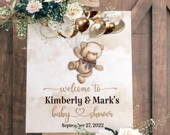 EDITABLE Teddy Bear Baby Shower Welcome Sign | Invitation | Teddy Bear Theme | Nuetral Shades | Can Bearly Wait to Meet You | BB04