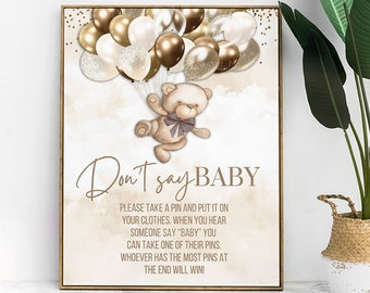 PRINTABLE Don't Say Baby Game Sign | Teddy Bear Theme | Nuetral Shades | We Can Bearly Wait | Bear Baby Shower | BB04