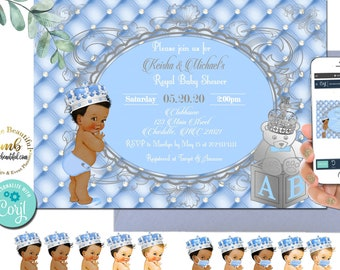 EDITABLE | Light Blue and Silver Baby Shower Invite | Invitation | A Prince is on the Way | Royal Blue Baby Shower Theme | LB91