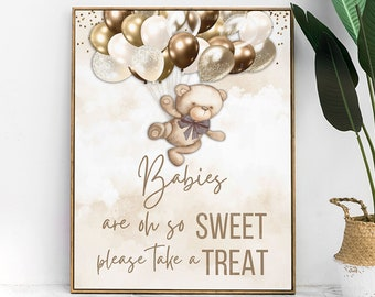 PRINTABLE Babies are Sweet Candy Table Sign | Teddy Bear Theme | Nuetral Shades | We Can Bearly Wait | Bear Baby Shower | BB04