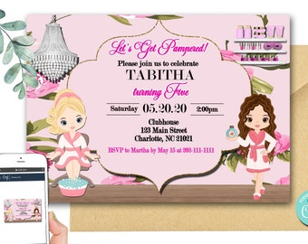 EDITABLE | Spa Party Invite | Spa Invitation |Spa Birthday Party | Pamper Party | Sleep Over Party |  SP-068