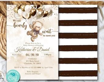 PRINTABLE Teddy Bear Baby Shower Invite | Invitation | Teddy Bear Theme | Nuetral Shades | Can Bearly Wait to Meet You | Boho Theme | BB04