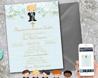 EDITABLE First Holy Communion Invite | Invitation| Floral | Watercolor Blue Flowers | Baptisim | Holy | Cross | Boy Baptism | FC33