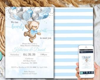 PRINTABLE Teddy Bear Baby Shower Invite | Invitation | Teddy Bear Theme | Blue and Silver | Can Bearly Wait to Meet You | Boho Theme | BB05