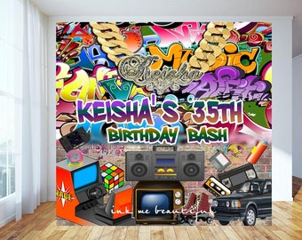 DIGITAL FILE Hip Hop Throwback 80s 90s House Party Baby Photo Backdrop Step And Repeat Candy Table Bannder HH01