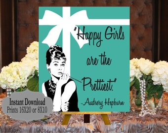 digital file audrey quotes happy girls are the prettiest bride and co baby and co babyshower bridal shower welcome sign