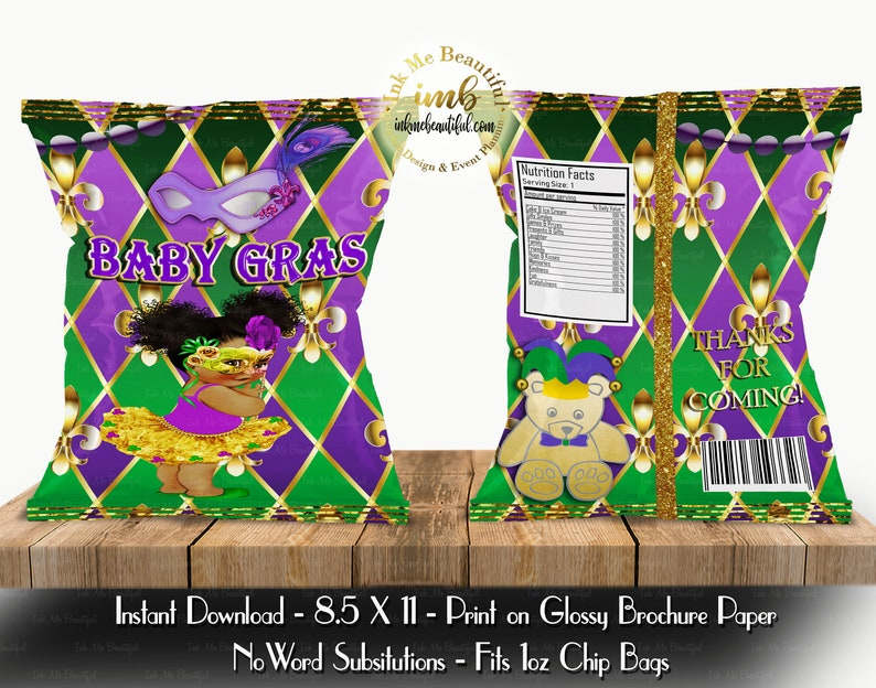 PRINTABLE Mardi Gras Baby Shower Chip Bag 11 X 8.5 Mardi Gras image 0