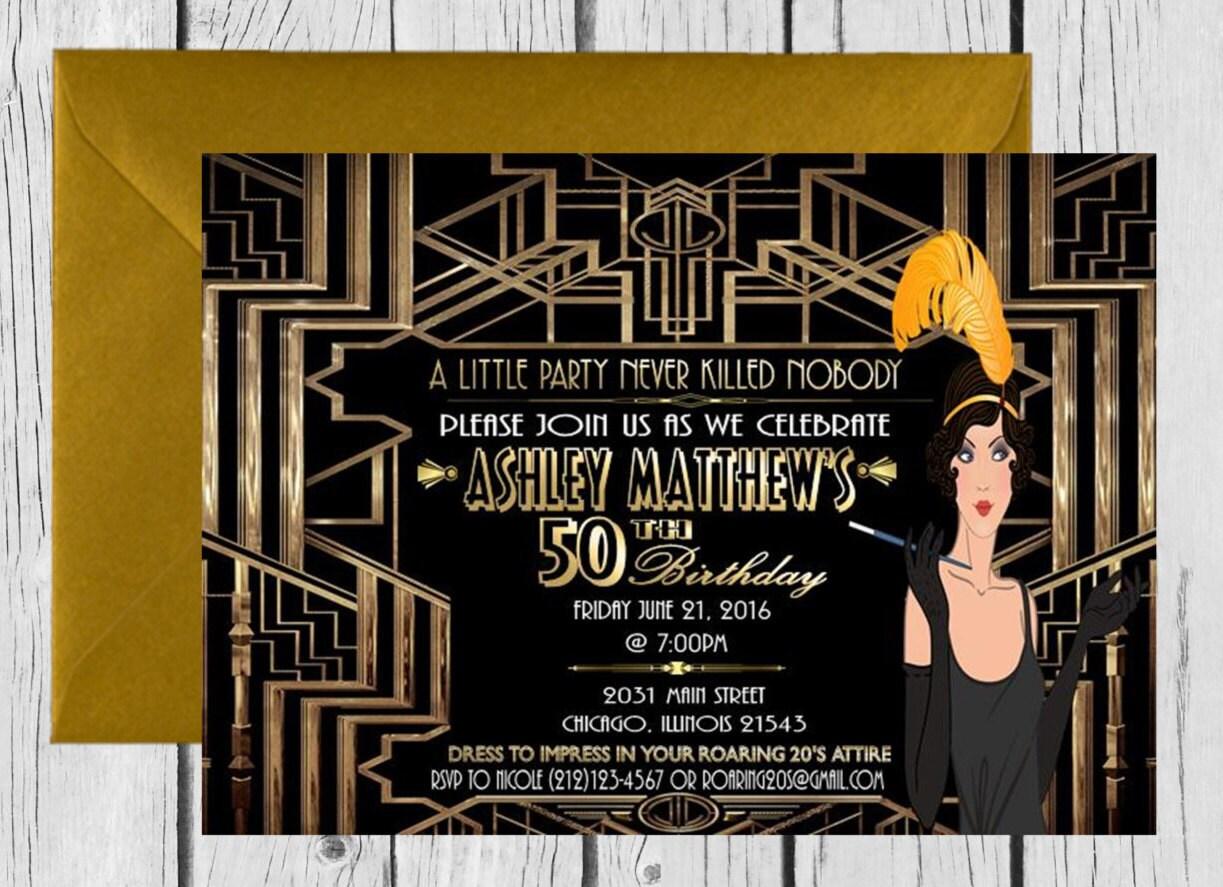 DIGITALE Datei Gatsby Themed Hochzeitseinladung Great Gatsby   Etsy