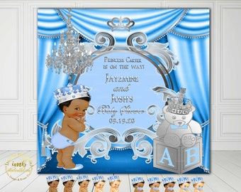 DIGITAL FILE  Royal Baby Shower Backdrop, Photoback Drop, Royal Baby Shower Decor, A Prince is On It's Way, Light Blue and Silver, LB91