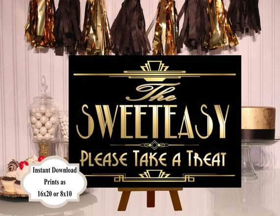 PRINTABLE Sweeteasy Candy sign,Gatsby party decoration