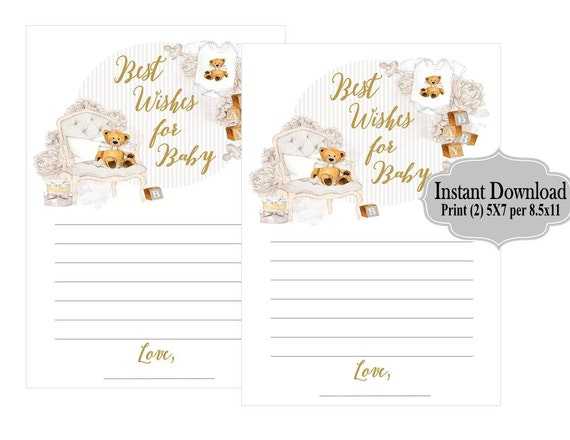 Digital File Best Wishes For Baby Printable Teddy Bear Baby Shower