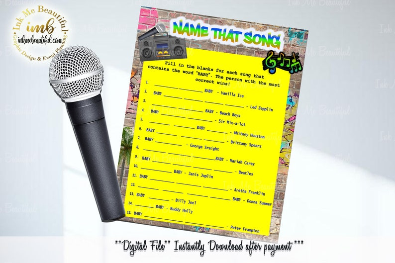 DIGITAL FILE  Name that Baby Song  5x7 Hip Hop Baby Shower image 0