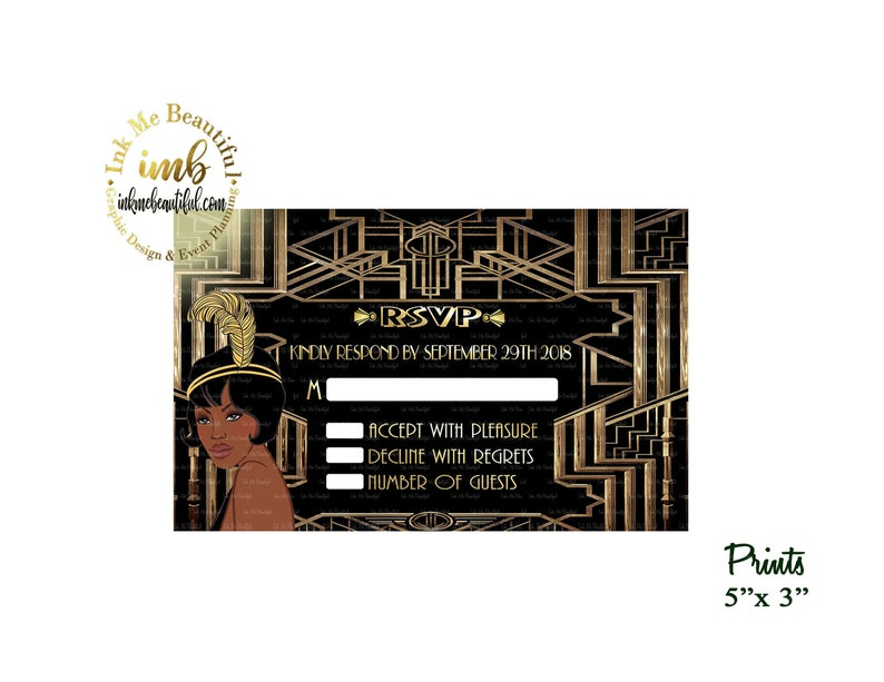DIGITAL FILERSVP Card Birthday Invitation Great Gatsby image 0