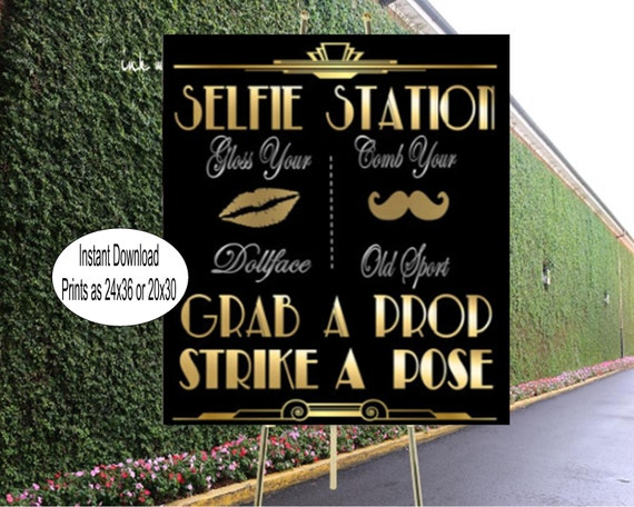 picture regarding Selfie Station Sign Free Printable known as PRINTABLE Selfie Station, Photobooth signal*Gatsby bash