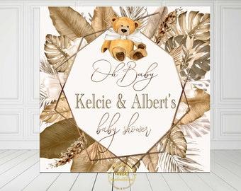PRINTABLE Teddy Bear Baby Shower Backdrop Banner | Teddy Bear Theme | Nuetral Shades | Can Bearly Wait to Meet You | Boho Theme |  | BN01
