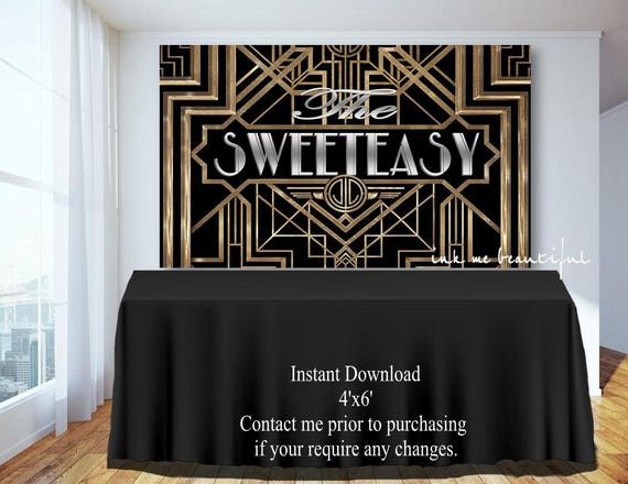 PRINTABLE Sweeteasy Candy Table Backdrop,Gatsby party