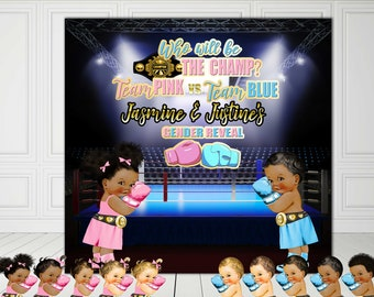 PRINTABLE Boxer Baby Gender Reveal, Boxer Theme,  Boxing Baby Shower, Boxing Theme, Photo backdrop, Sports Baby Shower, Candy Table Backdrop