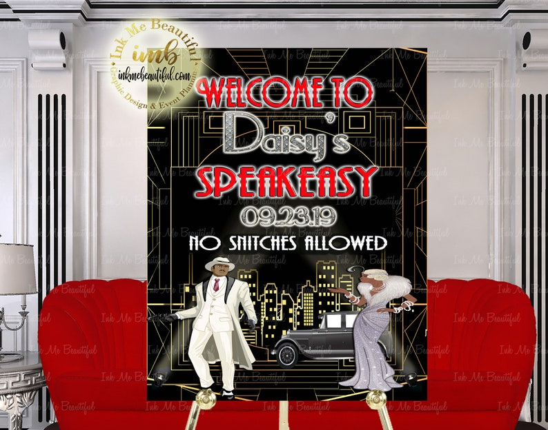 Great Gatsby  Welcome SignGatsby party decoration Roaring image 0