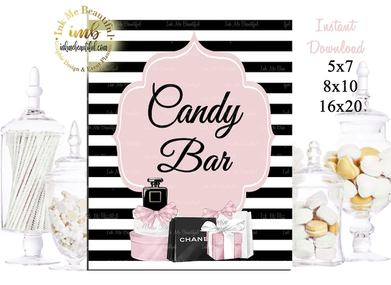 DIGITAL FILE Candy Bar Sign Baby Shower Fashion Baby Shower image 0