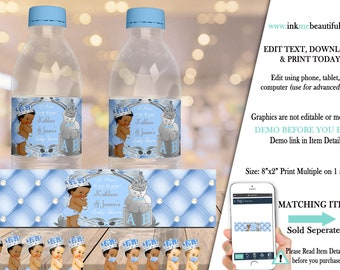 EDITABLE | Light Blue and Silver Royal Baby Shower Water Bottle Label | A Prince is on the Way | Royal Blue Baby Shower Theme | LB91