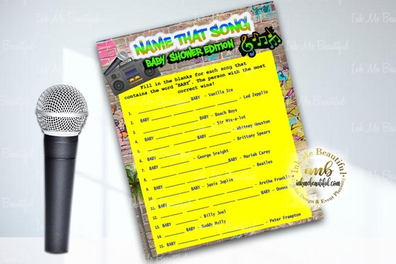 DIGITAL FILE Name that Baby Song , 5x7, Hip Hop, Baby Shower Games