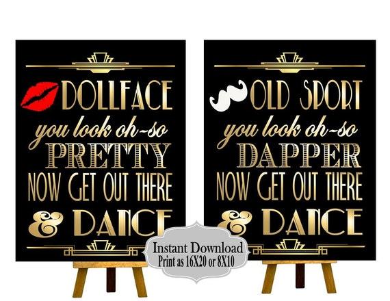 Druckbare Bad Zeichen Gatsby Party Deko Roaring 20er Jahre Etsy