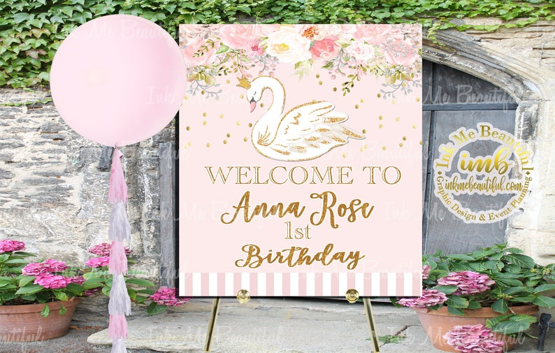 PRINTABLE Swan Welcome Sign Dove Birthday Baby Shower Step image 0