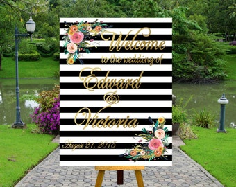 PRINTABLE Wedding Welcome Sign Wedding Welcome Poster, Rustic Wedding Printable, Black and White Striped Wedding