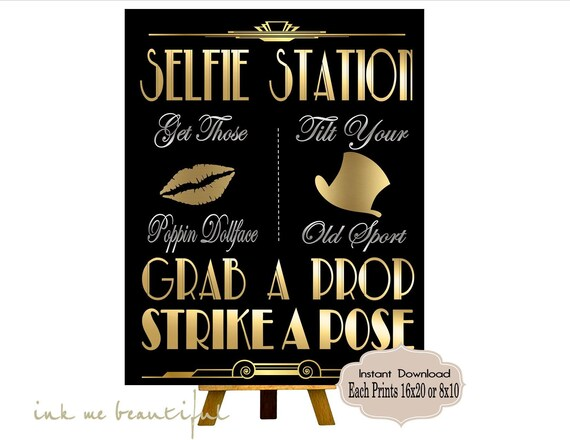 image about Selfie Station Sign Free Printable identify Superb Gatsby PRINTABLES, Selfie Station, Photobooth signal