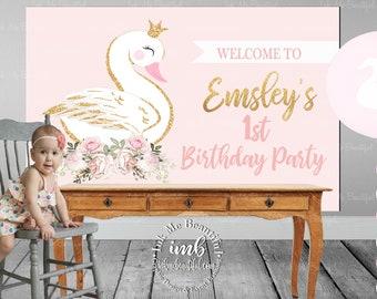 PRINTABLE Swan Backdrop, Dove, Birthday, Baby Shower, Candy Table, Photo Backdrop, Swan Lake, Swan Soiree, Birthday, Blush Pink SP098