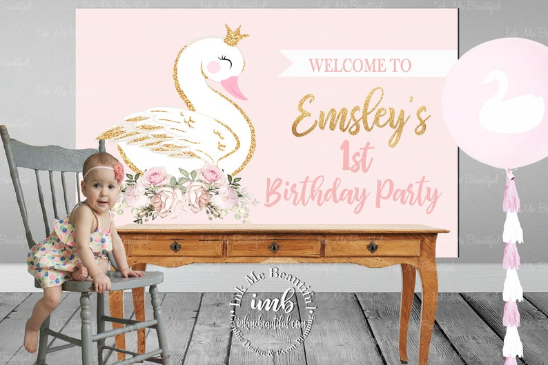 PRINTABLE Swan Backdrop Dove Birthday Baby Shower Candy image 0