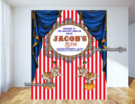 Circus Backdrop Step and Repeat Candy Table Backdrop PRINTABLE Carnival Photo Backdrop
