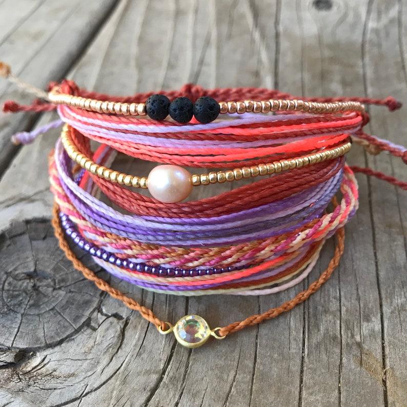 nuovo arrivo 82682 d2965 Set di 6 braccialetti di spago, bracciali, string bracciale, braccialetto,  bracciale impilabile, bracciale minimalista, cera stringa braccialetto