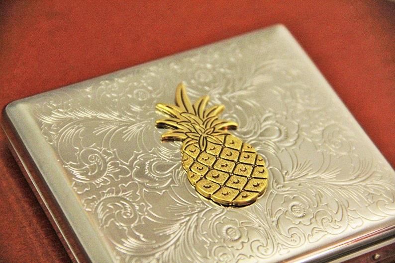 Ananas Etui A Cigarettes Carte De Visite Porte Metal
