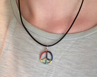 Adjustable black cord rainbow peace sign necklace