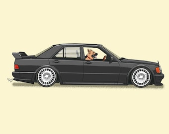 Zeus the German Shepherd driving his Mercedes on the autobahn art print! Dogs Driving Things Series 5