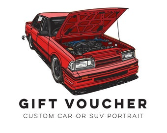 Gift Voucher for Custom Car Portrait and A3 Print of you Car or SUV! - Perfect Christmas gift for for anyone who loves their Car!