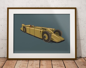 Land Speed Record - 'Golden Arrow' Car Art Print - Fast car, perfect for your child's wall or in your man cave or bar!