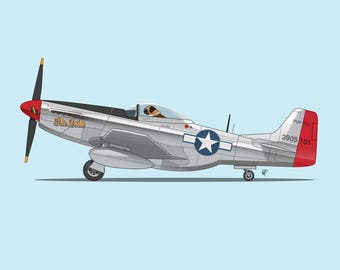 The Duke flying his P-51 Mustang! This is the perfect art print for nursery or children's room or as a special gift for a boxer dog fan!
