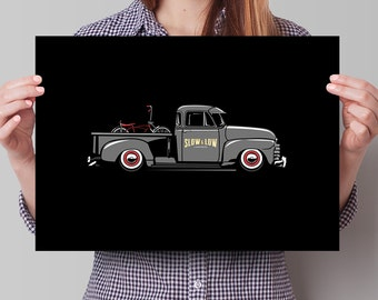 Chevrolet 3100 Pick Up with Lowrider Bicycle in the back - Limited run Lowrider Series - Chevy Art Print