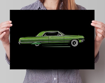 Chevrolet Impala Lowrider - Limited run Lowrider Series - Chevy Art Print. Perfect gift for him!