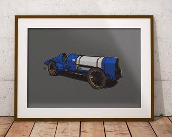 Land Speed Record Art Print - Sunbeam 350HP 'Blue Bird' - Car Automotive print perfect the auto enthusiast!