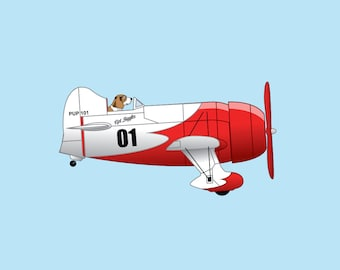 Captain Biggles the Beagle flying his Gee Bee Model R! Dogs Driving Things print series