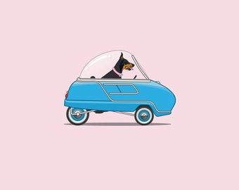 Doberman driving her Peel Trident - Dogs Driving Things - 'Daisy' the Art Print Digital Illustration - Perfect for Children's Room.