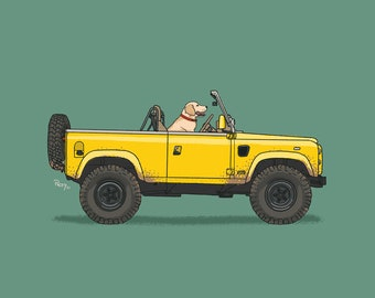 Oscar the Labrador exploring the world behind the wheel of his Land Rover art print! Dogs Driving Things Series 5